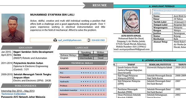 contoh template cv word