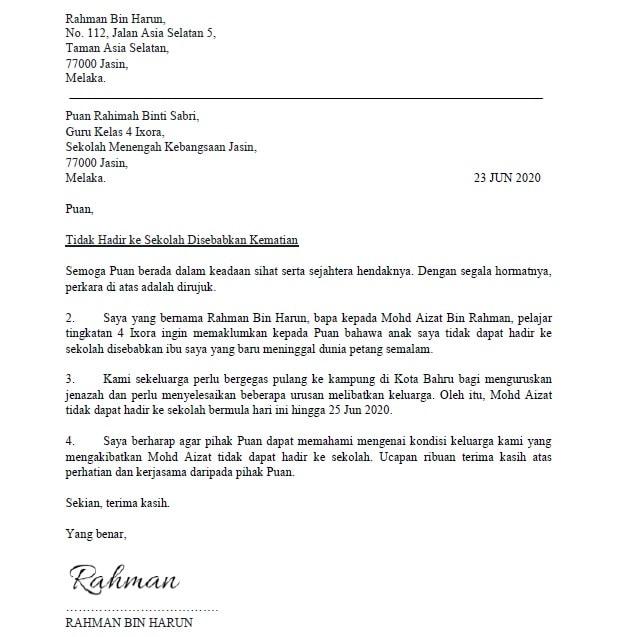 Contoh Surat Tidak Hadir Ke Sekolah Beserta Format Terkini ...